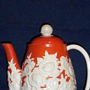 Japan 1930's White Relief Floral Coffee Pot With Bright Orange Hand-Painted Ground
