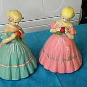 Mid-Century Pair Of Colonial MY FAIR LADIES  Figurine Pottery In Jordan Almond Colors..Pink & Aqua!