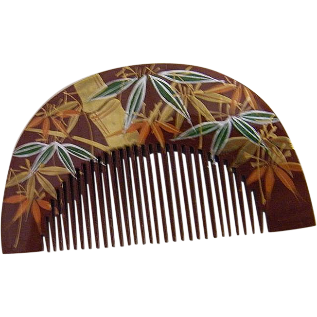 Japanese Hand Carved Amp Painted Wood Decorative Comb