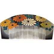 Japanese Decorative Comb..Hand Carved Wood..Hand Painted Daisy..Comb Shaded Gray / Brown..1970's..New Stock