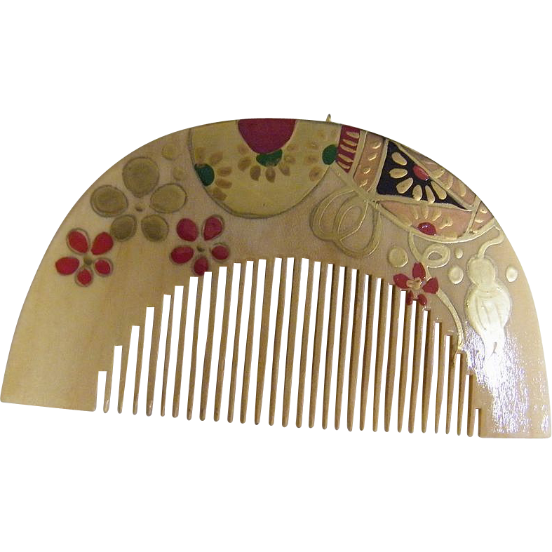 Natural Wood Japanese Hand Painted Decorative Comb  Pendant..New Condition..1970's