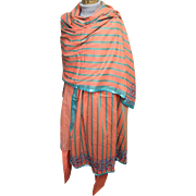 East Indian 3 Piece Costume..Cotton Orange/Aqua Stripe..Tunic/Harem Pants/Beaded Shawl..Excellent Condition!