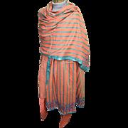 East Indian 3 Piece Costume..Cotton Orange/Aqua Stripe..Tunic/Harem Pants/Beaded Shawl..Excellent Condition!