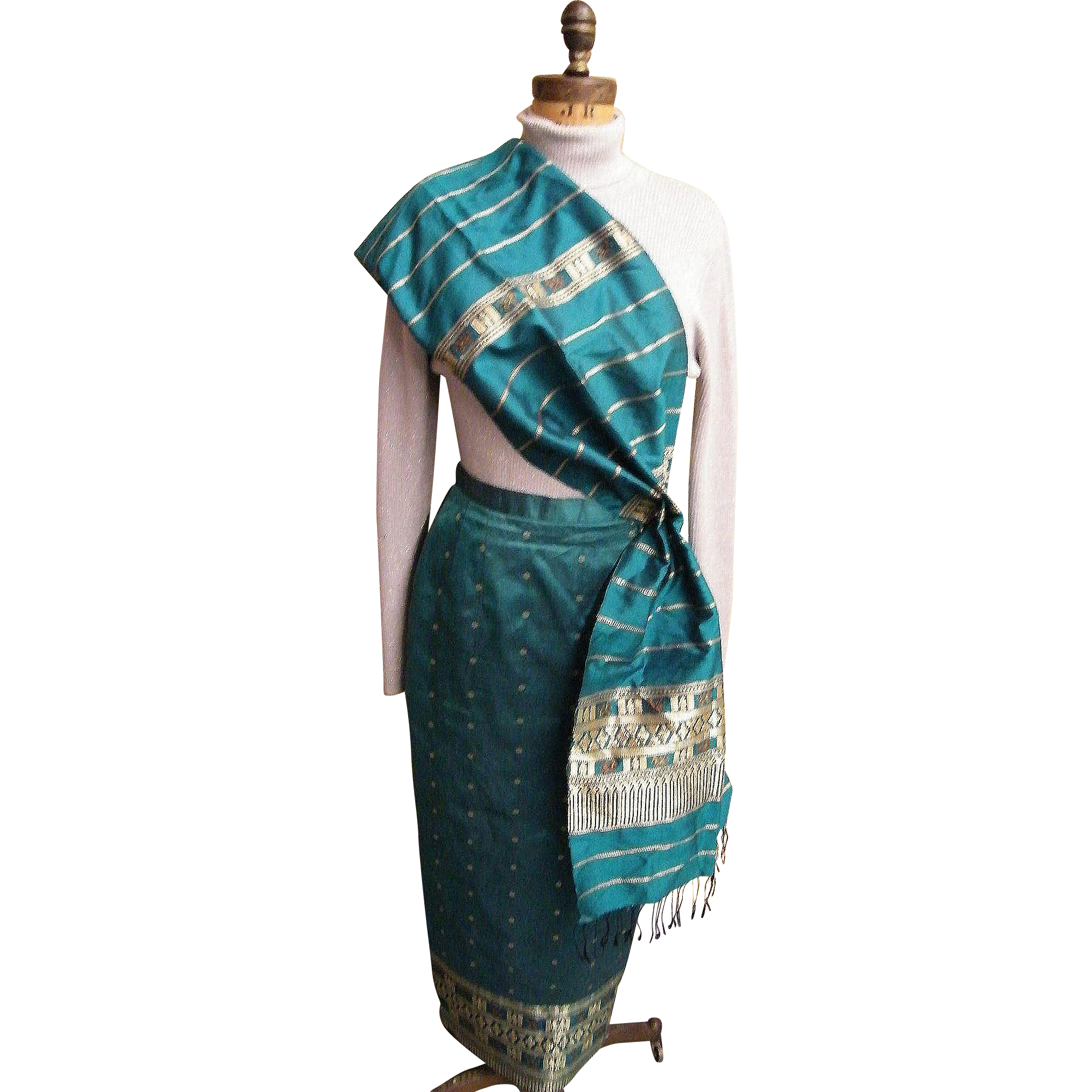 East Indian Green With Gold Metallic Accents Thai Silk