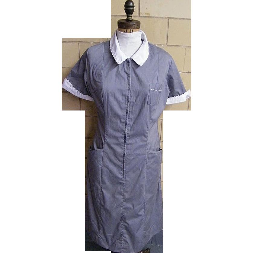 Maid's Or Matron Uniform..Grey Polyester / Cotton..White Collar & Cuffs..White Swan..Size 16..USA