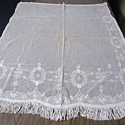 Antique Net Curtain Panel With Rayon Fringe