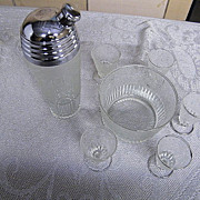 Paden City.. SPRING ORCHARD Glass Bar Set:..Cocktail Shaker.. Ice Bucket..Glasses..Set