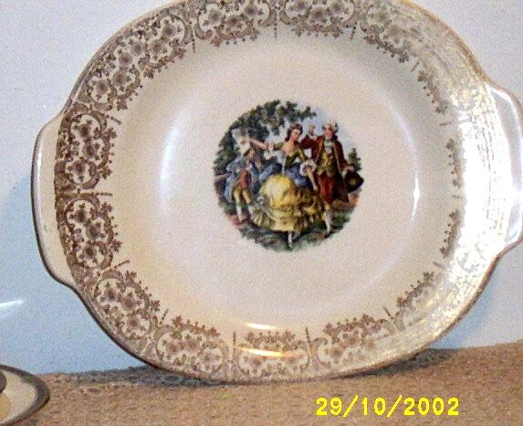 Sebring Pottery Chantilly Platter With Side Handles  Colonial Couple