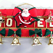 Vintage NOEL SANTA With Bells  Christmas Door Display..Red Flocked Fabric..Gold Foil NOEL..Japan..Excellent Condition!