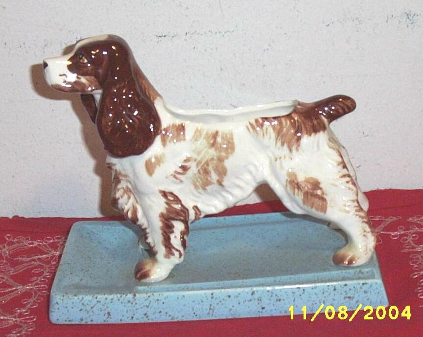 Spaniel Dog Ceramic Planter Or Bookend....Very Special!