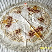 Silk Embroidered Piano Doily With Gold Baskets And Wine Flowers