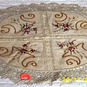 Piano Doily Of Textured Linen, Silk Embroidery And Bobbin Lace