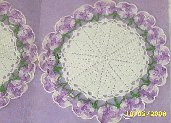 Vintage...Set Of Lavender Doilies Crochet Pansy Pattern