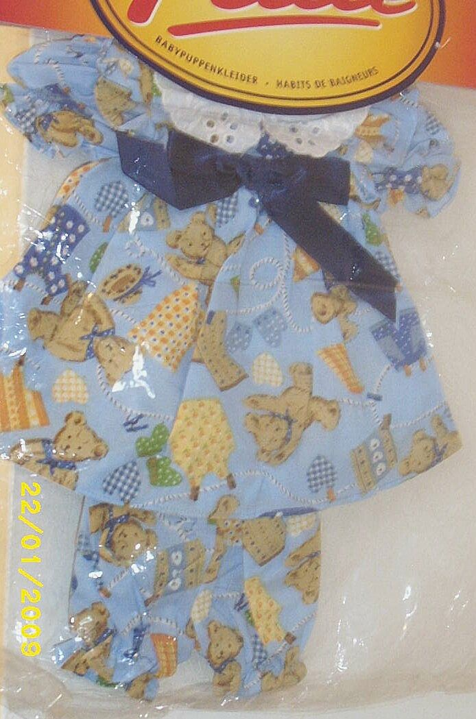 "DOLLS Clothing...Blue Cotton Bear Print Dress With Matching Long Pants...Fashions By Danny Petite..Hunter Toys England...Fits: 14-16"" & 35-40cms Doll..New Condition"