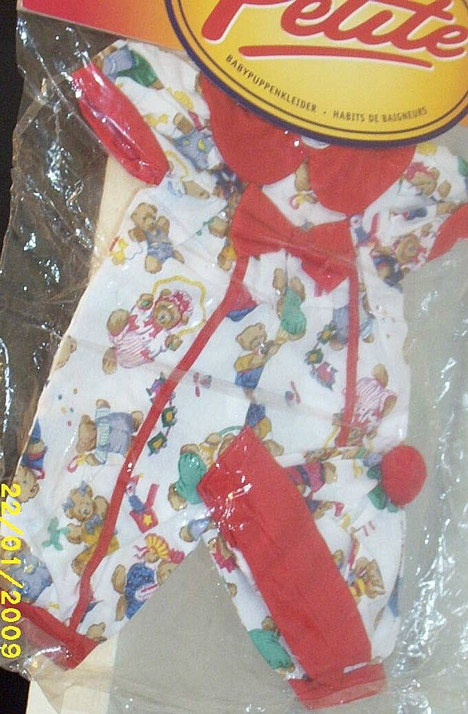 "DOLL Clothes...White Jumpsuit With Matching Cap..Bears Playing Cotton Print..New Condition..Hunter Toys England..Fashions By Danny Petite..Fits: 14-16"" & 35-40cms Doll"