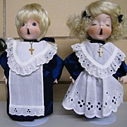 "Adorable CHOIR Boy & Girl Dolls By Cal-Hasco Of California..9.5"" Tall..Metal Stand..Excellent Condition!"