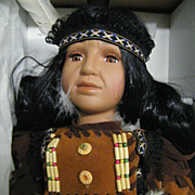 Boy Doll..Native American Indian..Handcrafted Porcelain Doll..NIB..Crimson Collection