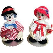 Soft Sculpture Pair Of Clowns..Boy Friend & Girl Friend,,,Excellent Condition