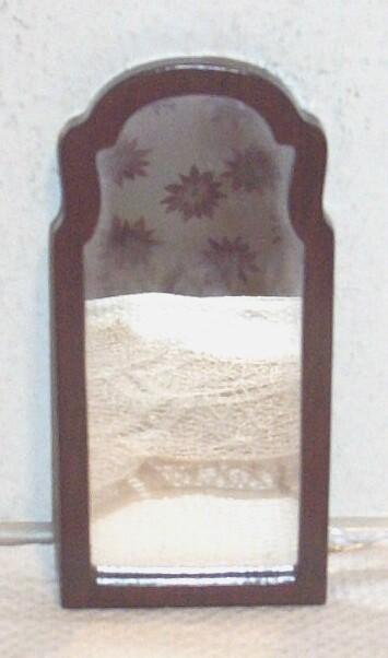 Vintage. 1970's..MIB..Hand-Made Mahogany Oblong Doll House Mirror..Chain Hanger