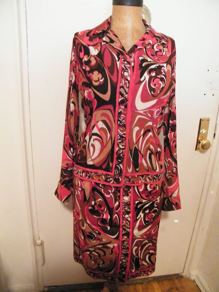 1960's ..EMILIO PUCCI..2 Piece Dress..Silk Blouse..Wool Skirt..Red / Wine / Rust / Brown Abstract Print