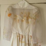 Fairy Princess...Organdy Wedding / Formal Dress..Organdy..Cream...Applique.Long Sleeves..Gathered Skirt..New Condition