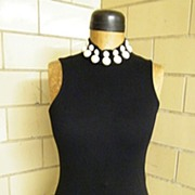 1980's Black Contour Dress & Bolero With LARGE Faux Pearl Trim..Andrea Jovine..Excellent Condition