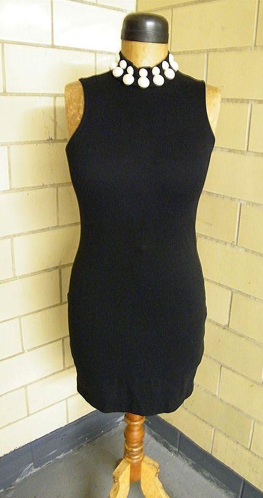 1980's Black Contour Dress & Bolero With LARGE Faux Pearl Trim..Andrea Jovine..Excellent Condition