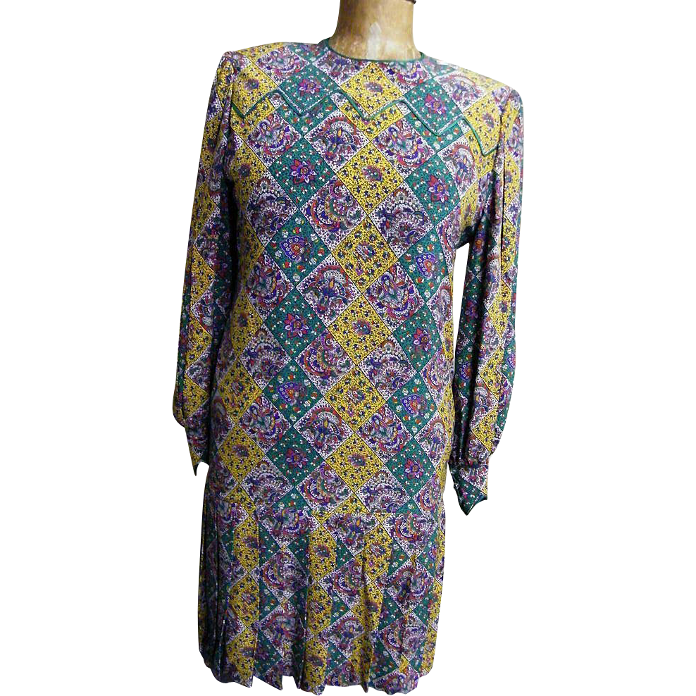 Aurora Ruffolo Eastern Paisley Tile Print Silk Crepe Drop Waist Dress With Pleat Accent...Excellent Condition!