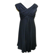 Adele Simpson Sheer Navy Silk Crepe Draped Front Cocktail / Formal Dress..Late 60's-Early 70's..USA
