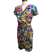 Silk Dress...Emilio Pucci Like Print..Pat Argenti..1980's..Size 4..Excellent Condition!