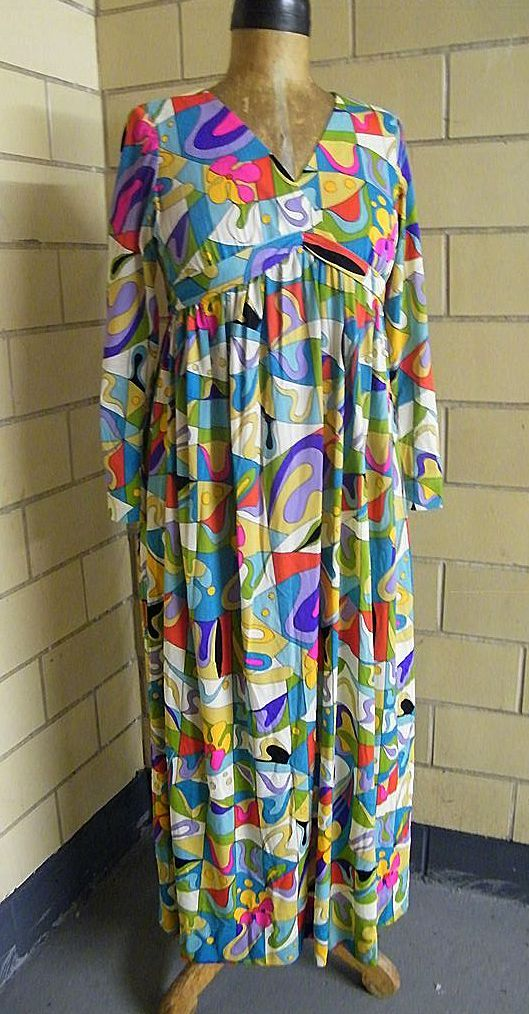 "1960's Emilio Pucci style Abstract Print Dress ..""V"" Neck..Empire Waist..Long Fitted Sleeves..Jersey"