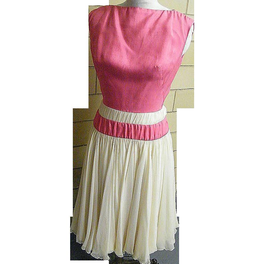ESTEVEZ Formal Dress 1950's..Pastel Beige Silk Crepe Chiffon With Rose Silk Bodice..Size 10..Excellent Vintage Condition