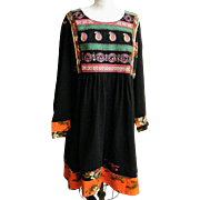 Ethnic Peasant Dress Black Cotton Embroidered Bib Rose Print Inserts Long Sleeves..Size 28W