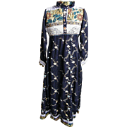 ETHNIC MAXI DRESS Black With Embroidery & Bead & Collage Prints