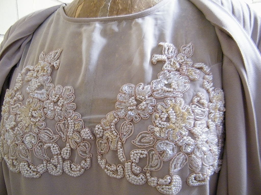 Long Formal Polyester Crepe Pale Beige Dress With Faux Jacket..Beaded Accents..Size XL
