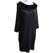 Black Knit Dress Midi Faux Fur Trim..Nina Leonard..Size L..Hong Kong