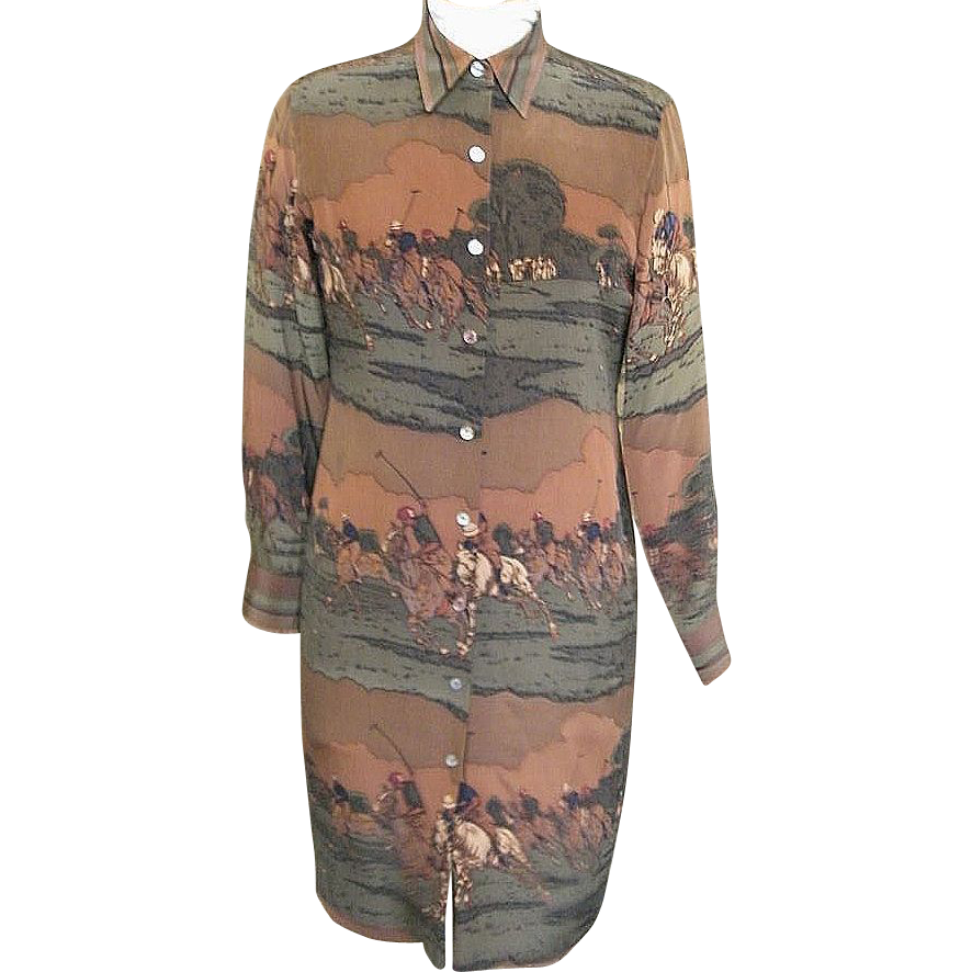 Lauren By Ralph Lauren...Equestrian Silk Shirtdress / Sheath..Size 6..Excellent Condition