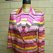 1980'S ..3 Piece..BRIGHT.. Abstract Striped Silk Suit..Mary Ann Restivo..Hong Kong..NEW With Tags