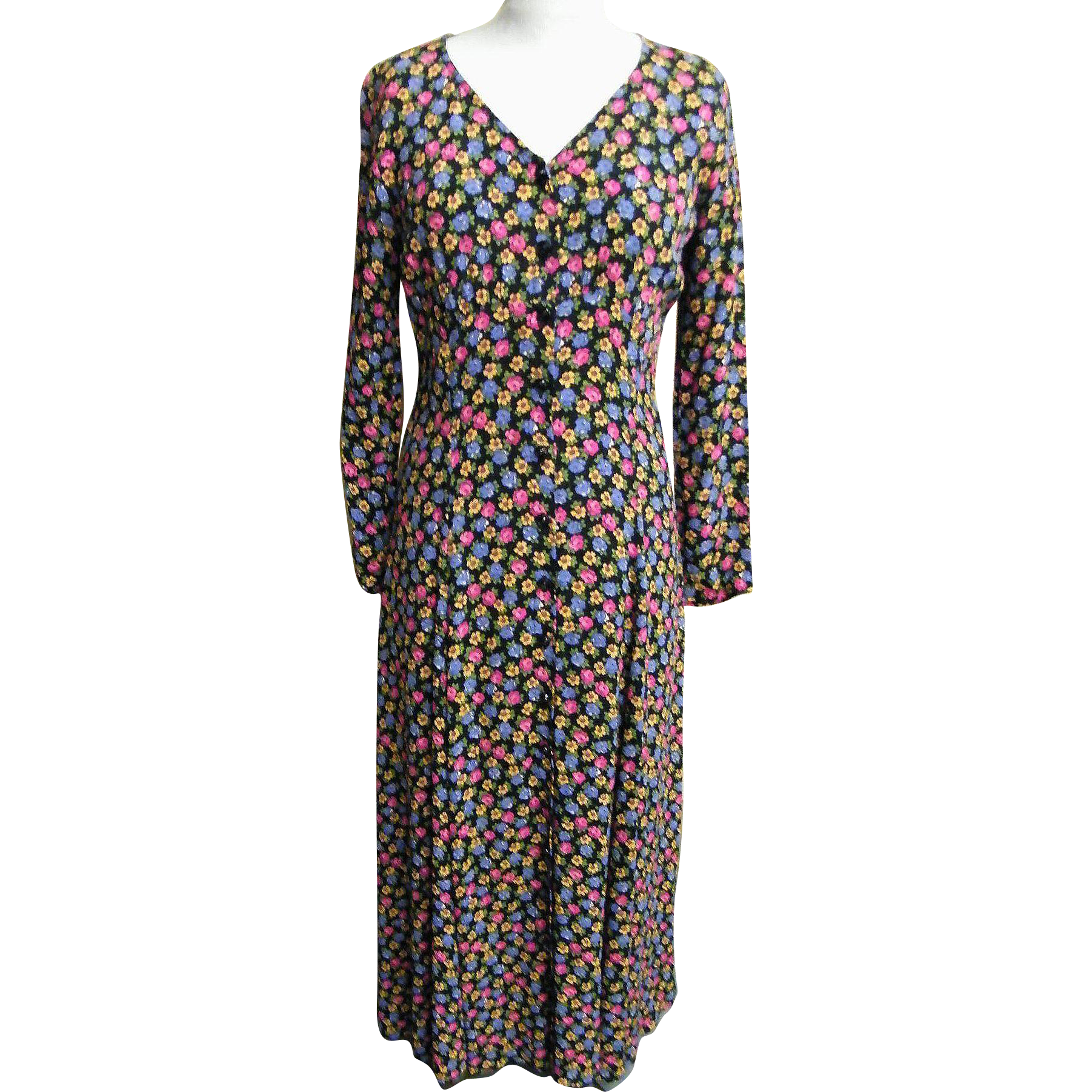 Maxi Dress..Betsey Johnson..Small Liberty Style Floral On Black Ground..Rayon Crepe..Size Medium..Excellent Condition
