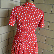 Red Dress With White Polka Dots By Louis Feraud..Razook's..Hong Kong..US 8..Excellent Condition