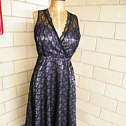 Black Lace Slip Dress By Laura Ashley..Excellent Condition!