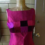Dark Magenta Slubbed Silk Dress & Jacket With Patchwork Velvet & Silk Accents..Size 12..New With Tags