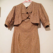 Designer 2 Piece  Textured Woven Silk Strapless Dress & Bolero Jacket..Semi Formal..Mad Cordes Australia..Small