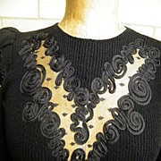 1960's  Black Boucle Sweater Dress By Pat Sandler For Wellmore..Floral Ribbon On Net Details..Size 6..Excellent Condition!