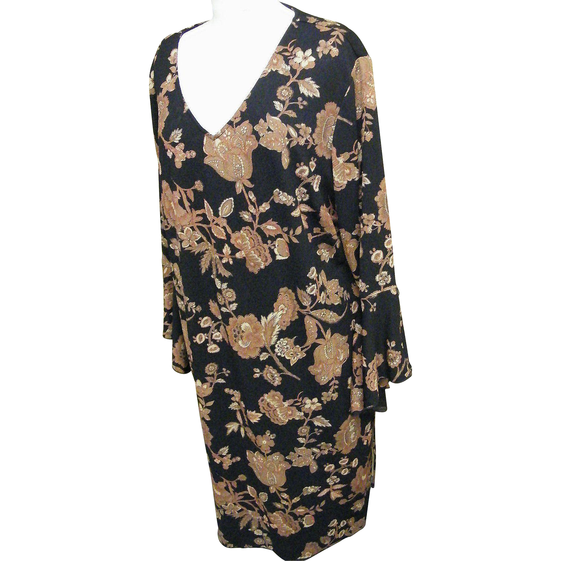 Summer Dark..Tapestry Print..Shift Dress..Blk Ground  / Brown Print..Polyester Crepe Single knit..NWT..Size 22W / 24W