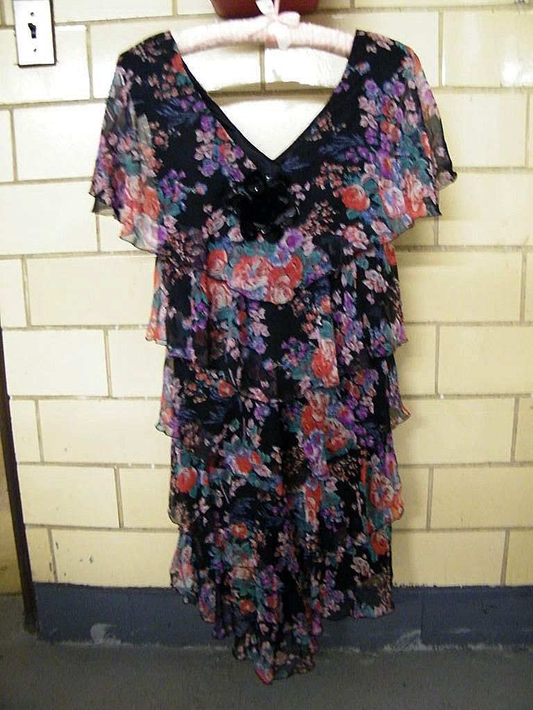 "Black Voile Bright Floral Printed Dress With Multi Tiers..""V"" Neck..Cape Sleeves..By Maya Jornot For Cattiva..Size 6..Excellent Condition!"