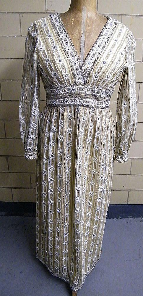 Vintage 1960's YOUTH GUILD Clear Rhinestone Novelty Beaded Dress..Gold Satin Lining..Work Of Art!