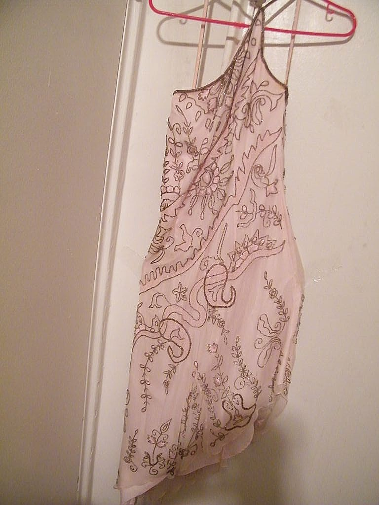 Pale Pink Silk Beaded Cocktail Dress With Side Halter..By AD Andretta Donatello..India