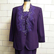 Plum Crepe Dress / Suit With Beading Applique By Victor Costa For Nahdree..Size 18W..Excellent Condition