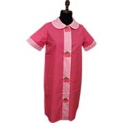 1950's Duster / Housecoat / Loungewear...Pink On Pink With Strawberry Applique On Snaps..NOS..Size 12..USA